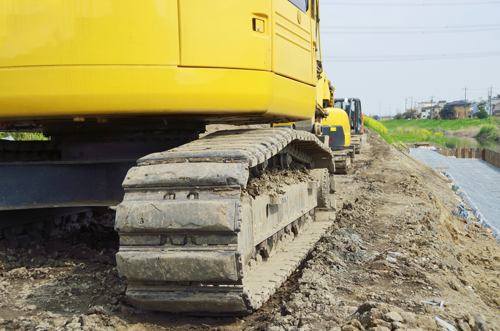 Construction heavy equipment; caterpillar of excavator